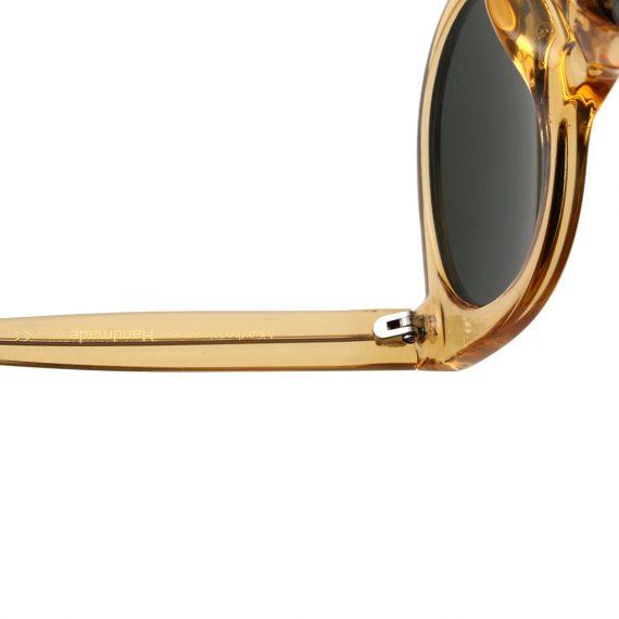 Dames Akjaerbede Butterfly zonnebril geel transparant met groene glazen AKsunnies bril