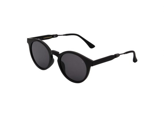 Unisex Akjaerbede Eazy opvouwbare zonnebril mat zwart met grijze glazen AKsunnies bril