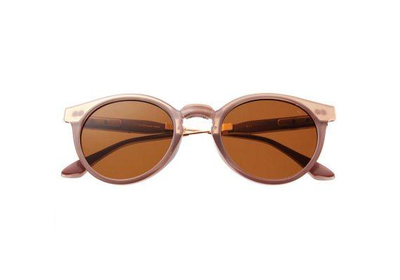Unisex Akjaerbede Eazy opvouwbare zonnebril transparant roze met bruine glazen AKsunnies bril