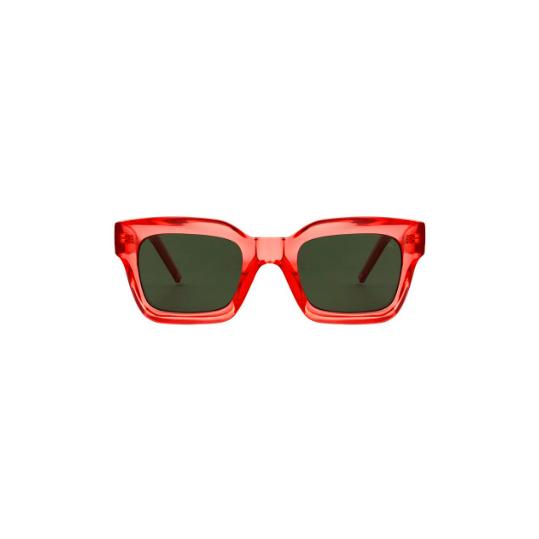 A.Kjaerbede unisex zonnebril model GIGI kleur rood met groene glazen AKsunnies bril