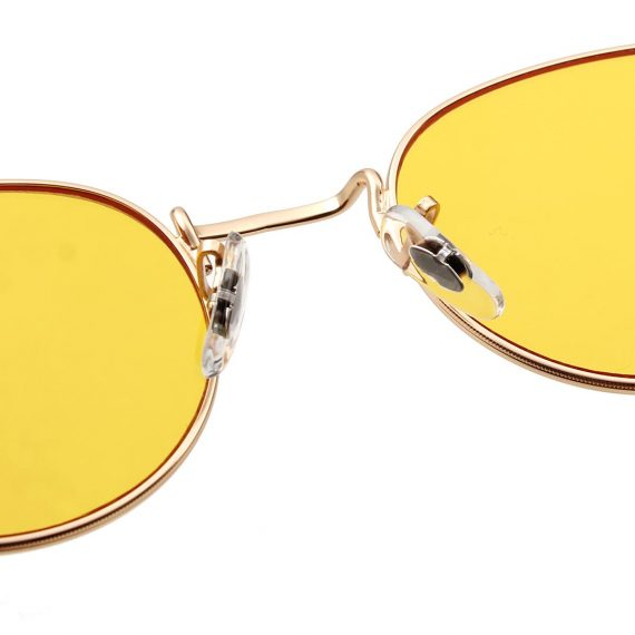 A.Kjaerbede unisex zonnebril model Hello goud met gele glazen AKsunnies bril festival