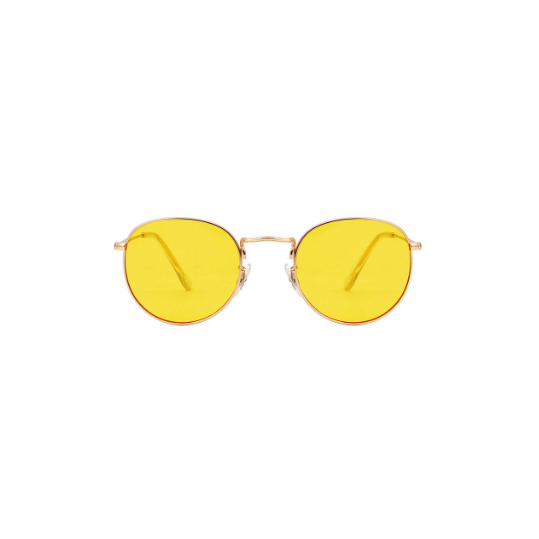 A.Kjaerbede unisex zonnebril model Hello kleur goed met gele glazen AKsunnies bril
