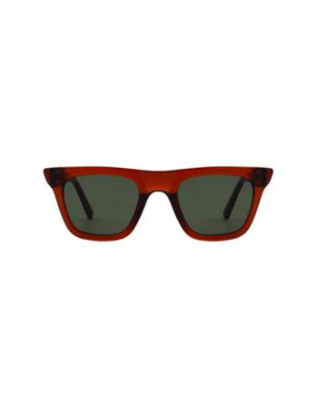 A.Kjaerbede zonnebril model FINE bruin transparant met groene glazen AKsunnies bril