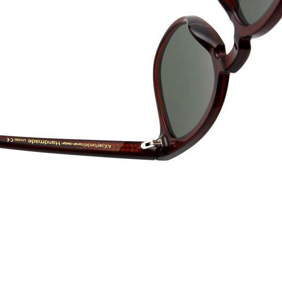 unisex Akjaerbede BATE zonnebril kleur donker bruin transparant met groene glazen AKsunnies bril