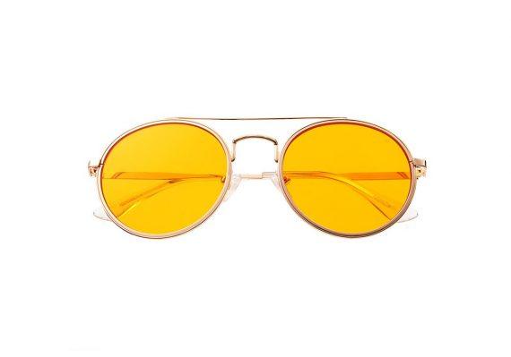 A.Kjaerbede zonnebril model PILOT kleur goud met gele glazen AKsunnies bril